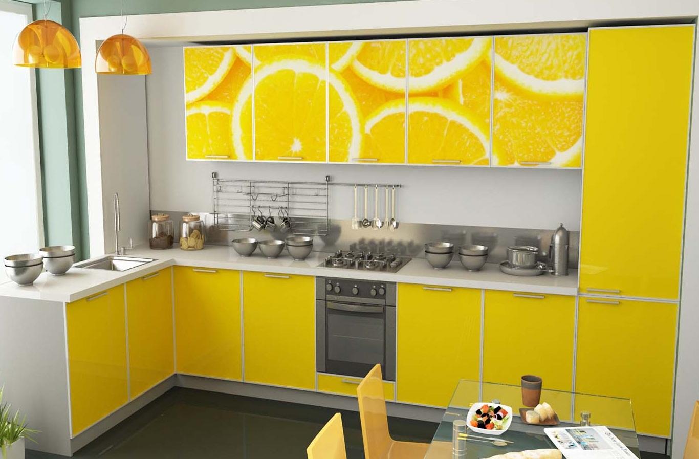 Лимонная расцветка кухни
