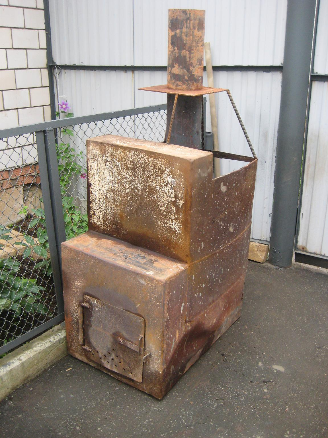 Металлическая печь для бани своими руками пример конструкции на фото