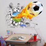 Фото 62: 3D фотообои в детской с футбольным мячом