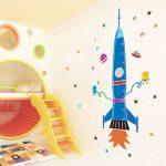 Фото 96: Фотобои в детской со шкалой измерения в виде ракеты