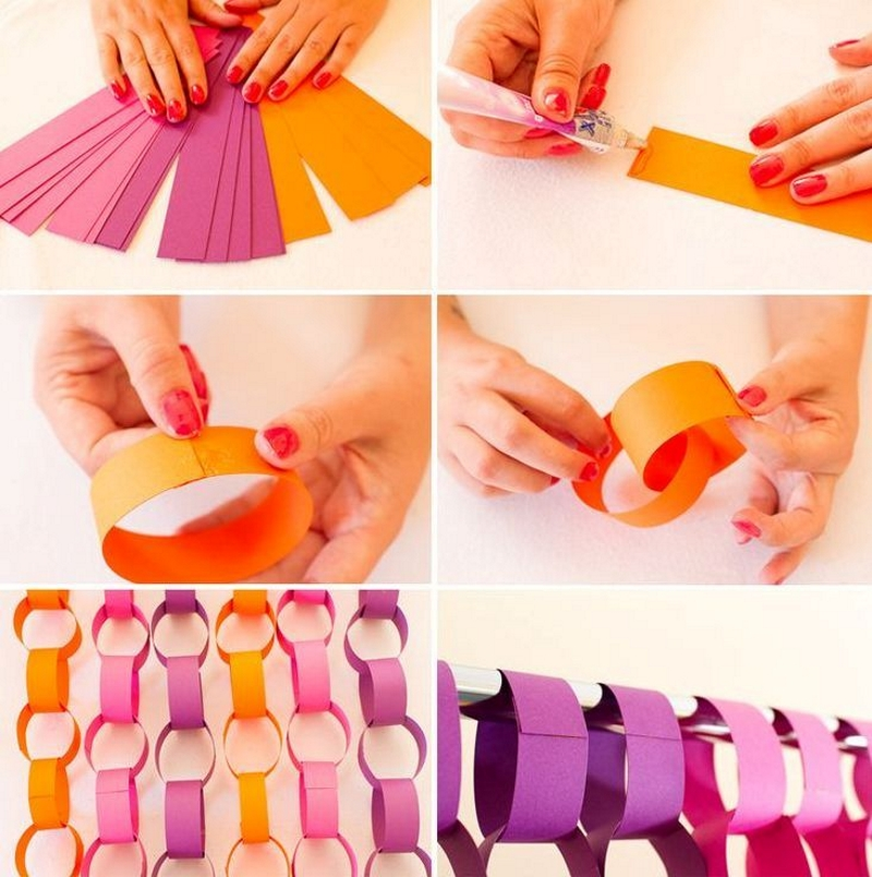 Изготовление гирлянды колечками из цветной бумаги своими руками