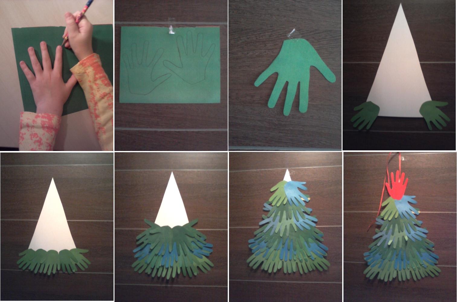 Аппликация елочки из бумажных детских ладошек
