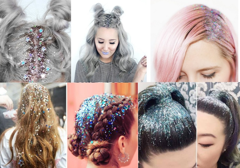Блестки на волосах к Новому Году