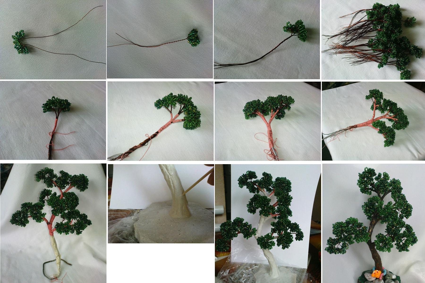 Изготовление дерева бонсай из бисера поэтапно