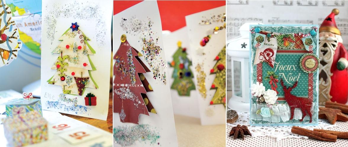 Новогодние открытки со скрапбукингом