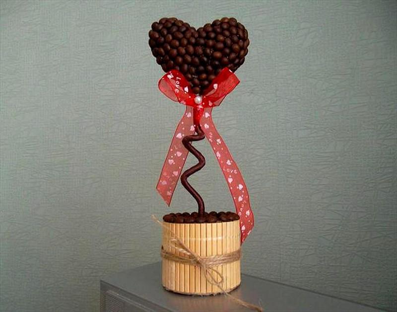 дерево любви из кофейных зерен