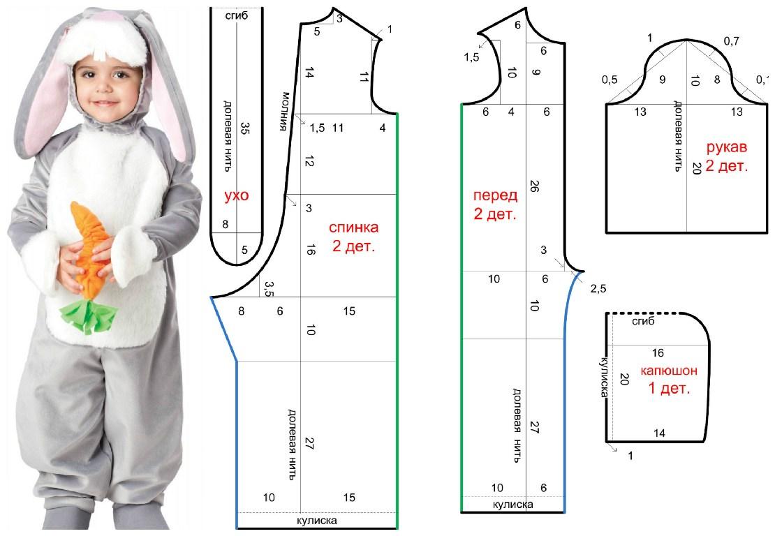 Выкройка костюма зайчика