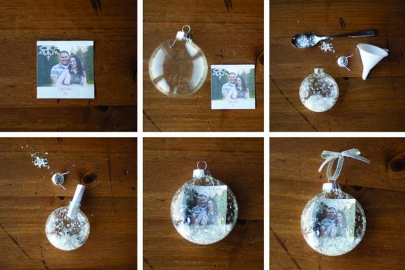Украшение прозрачного елочного шара фотографией