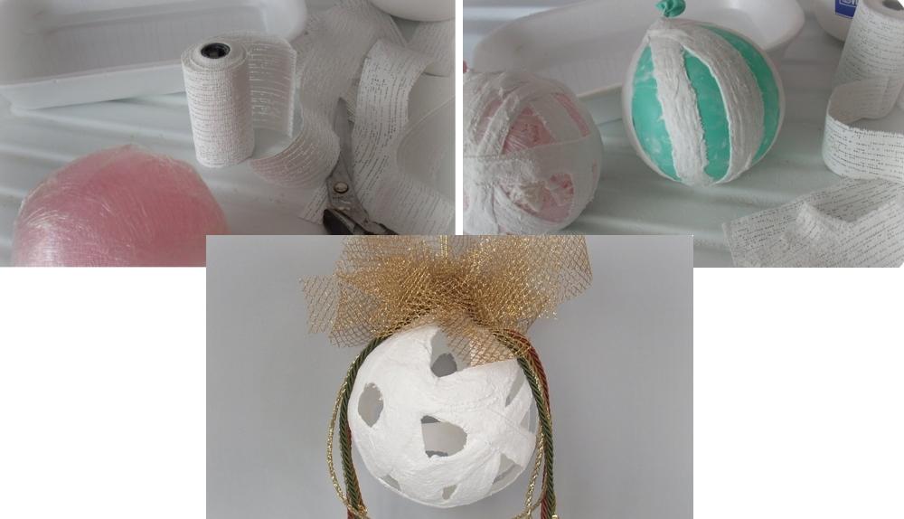 Елочный шар из воздушного шарика и гипсового бинта