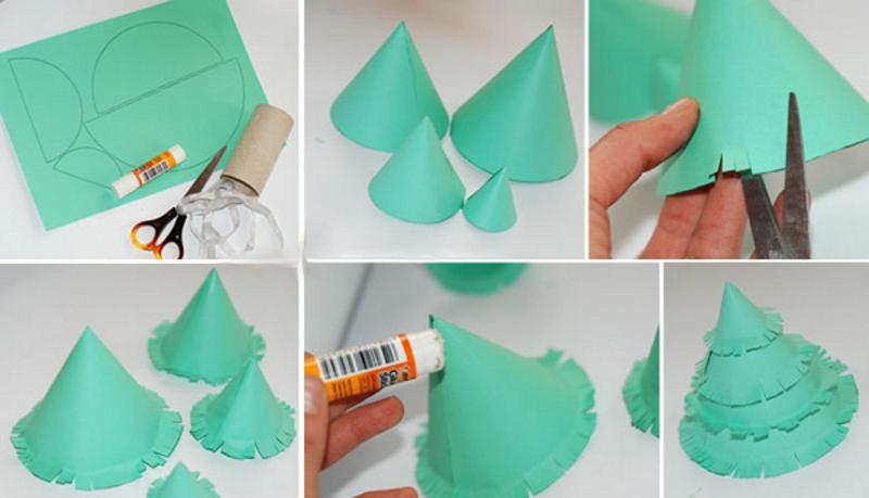 Изготовление елочки из конусов цветной бумаги