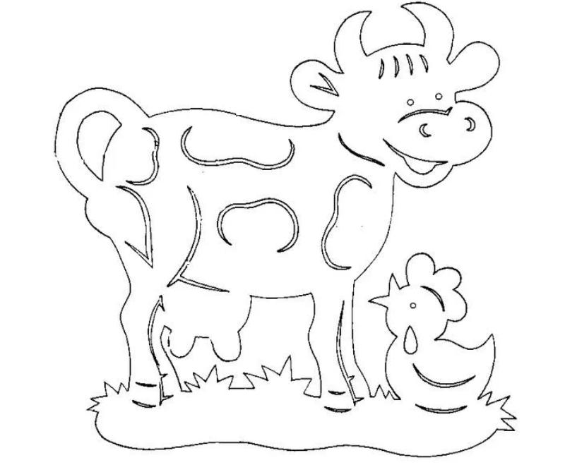 Шаблон корова на лугу