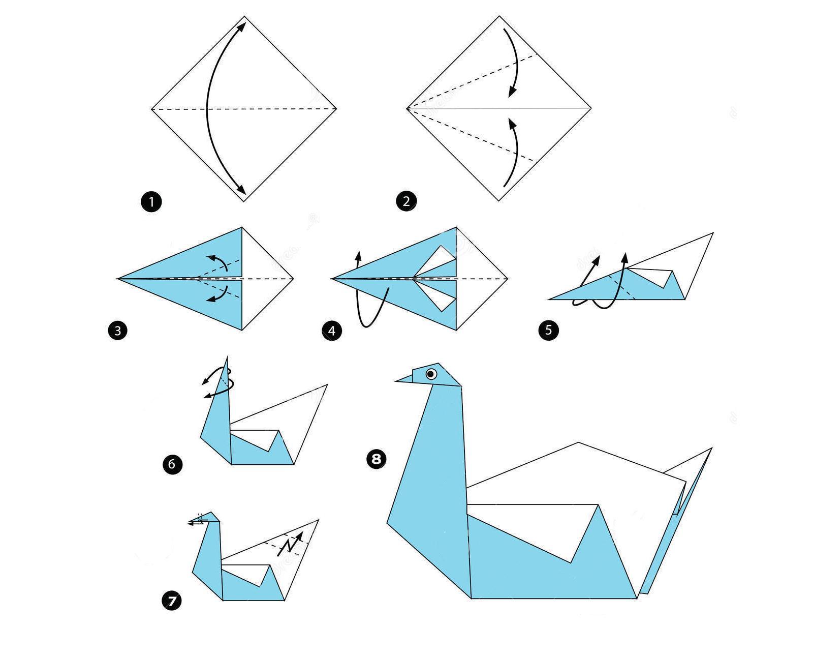 Инструкция по выполнению лебедя из бумаги методом оригами