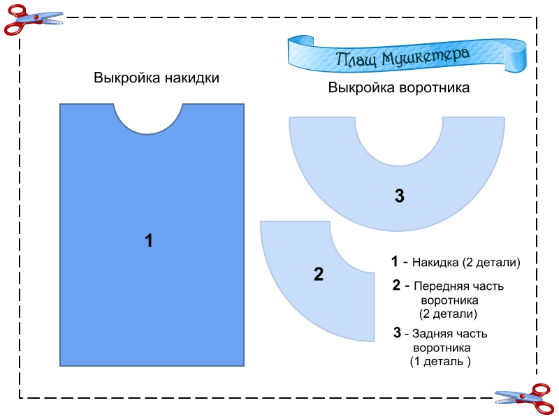 Схема накидки мушкетера