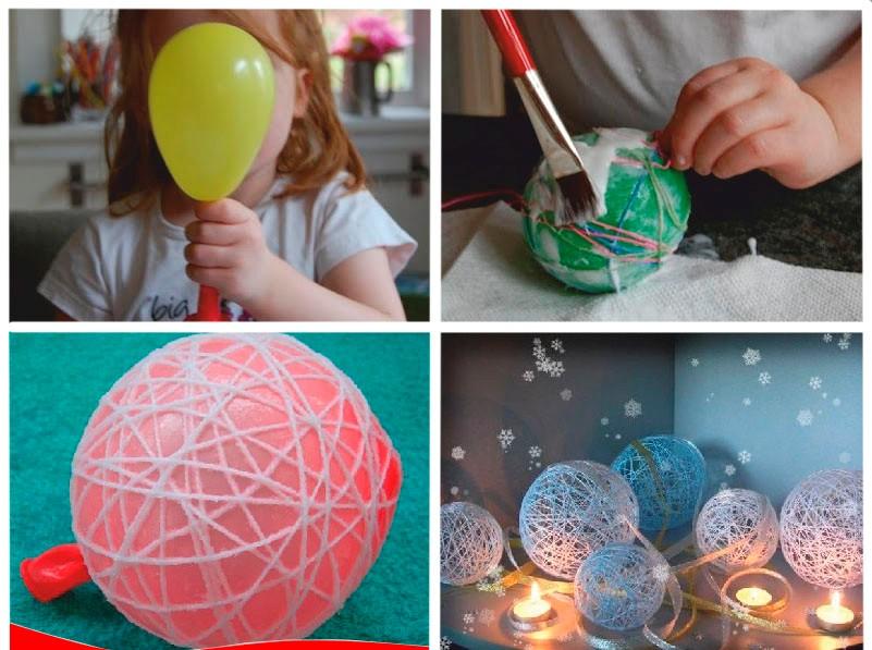 Изготовление новогоднего шара из ниток и воздушного шарика