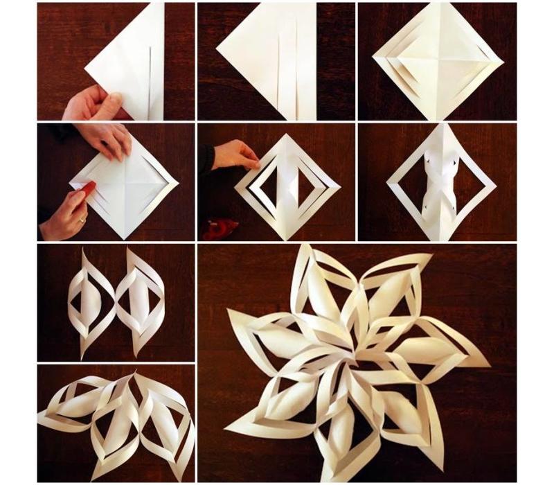 Изготовление объемной снежинки из бумаги своими руками