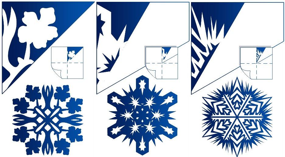 Схемы для вырезания снежинок на Новый год