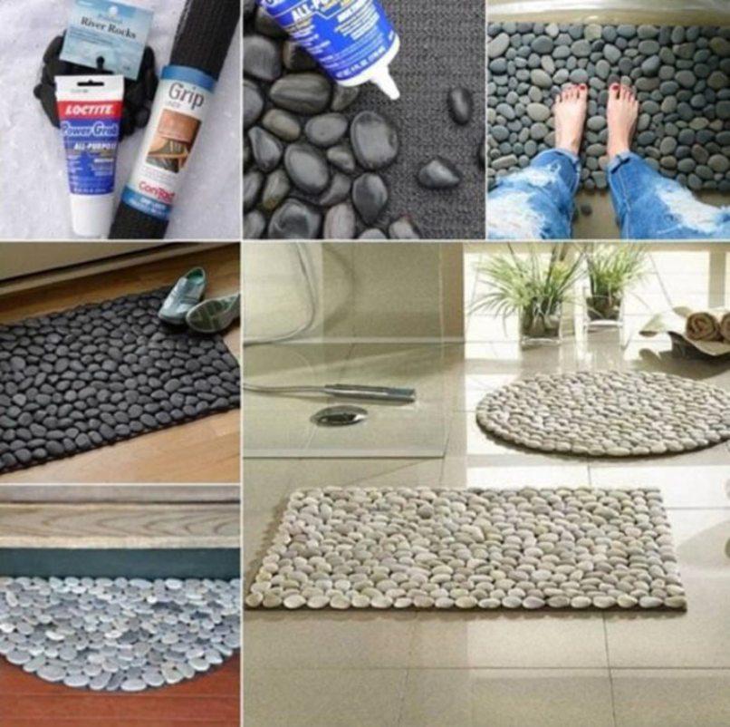 Для изготовления коврика из камней понадобятся клей и галька