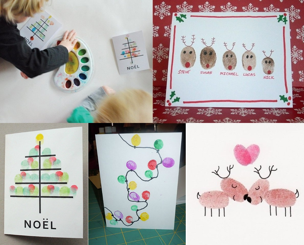 Новогодние открытки пальчиками