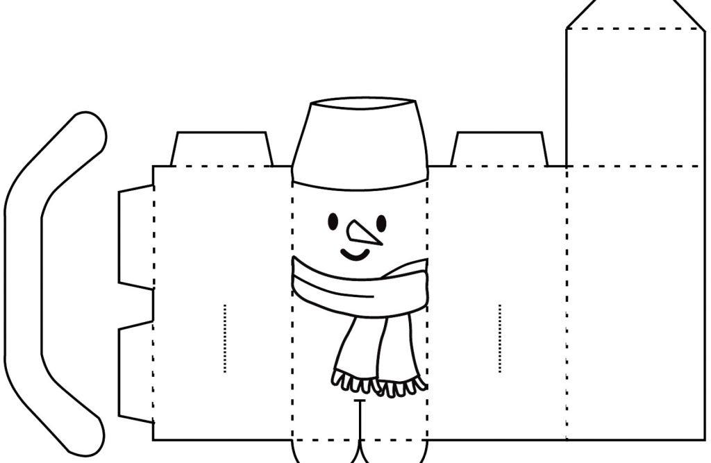 Подарочная коробочка снеговик из бумаги