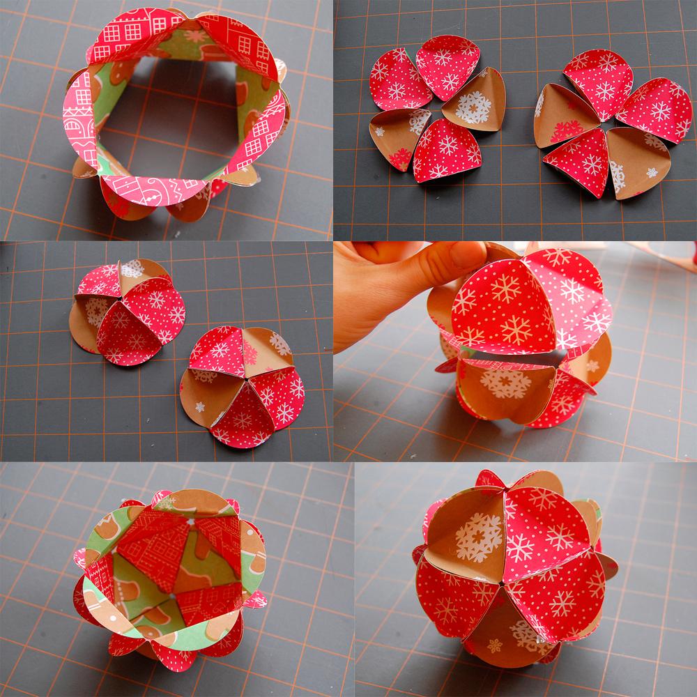 Изготовление новогоднего шарика из бумаги
