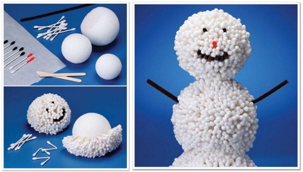 Снеговик из ватных палочек