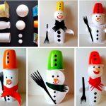Фото 25: Поделки снеговики из стаканчиков от йогурта