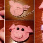 Фото 71: Изготовление свинки из фетра