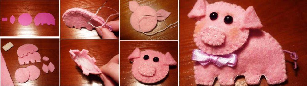 Изготовление свинки из фетра