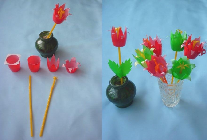 Поделка тюльпаны из стаканчиков