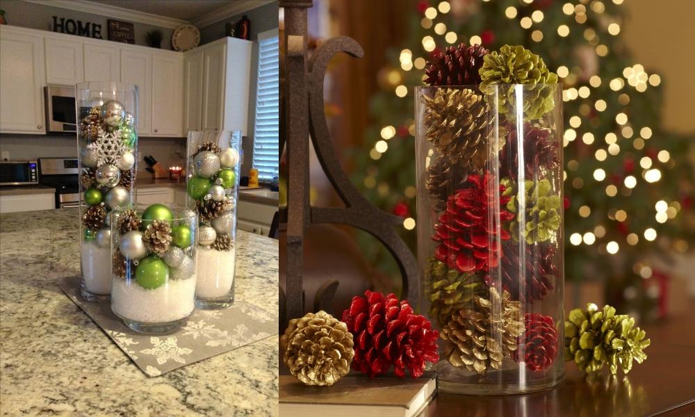 Новогодний декор вазы шишками и игрушками