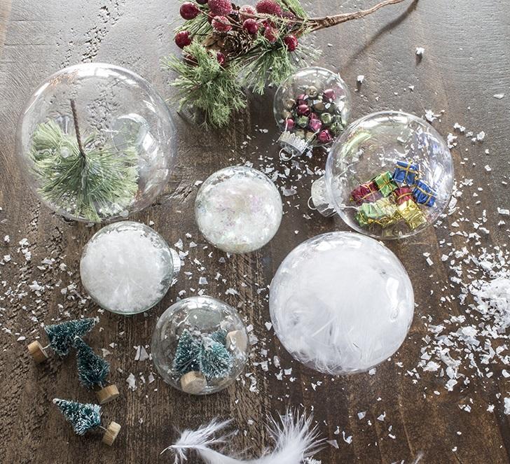 Декор прозрачных новогодних шариков
