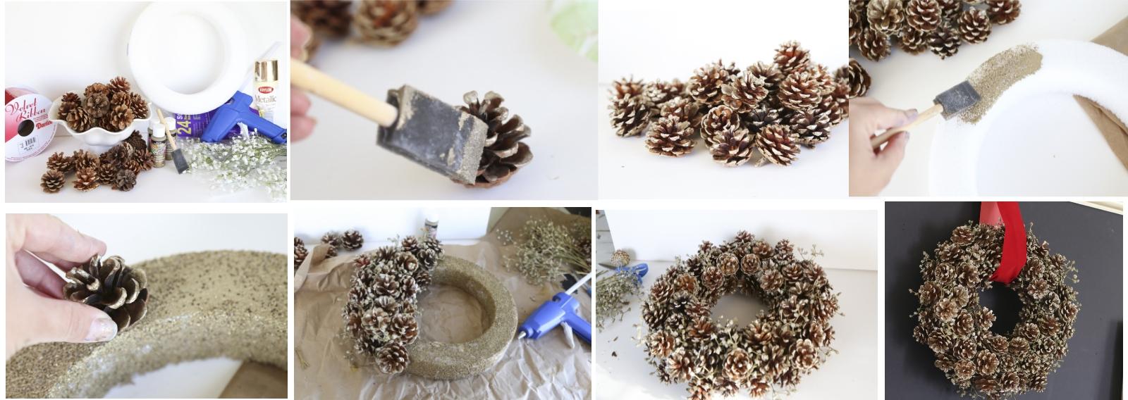 Изготовление новогоднего венка из шишек своими руками