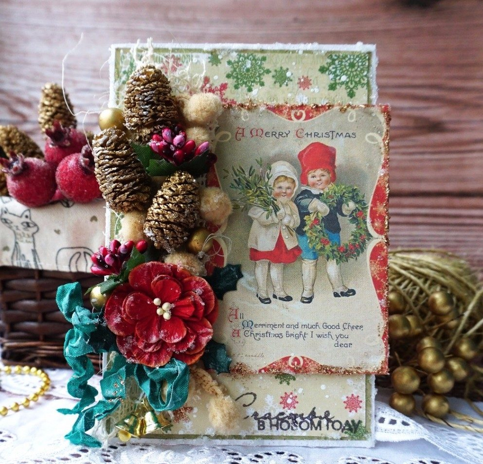 Винтажная открытка на Новый Год