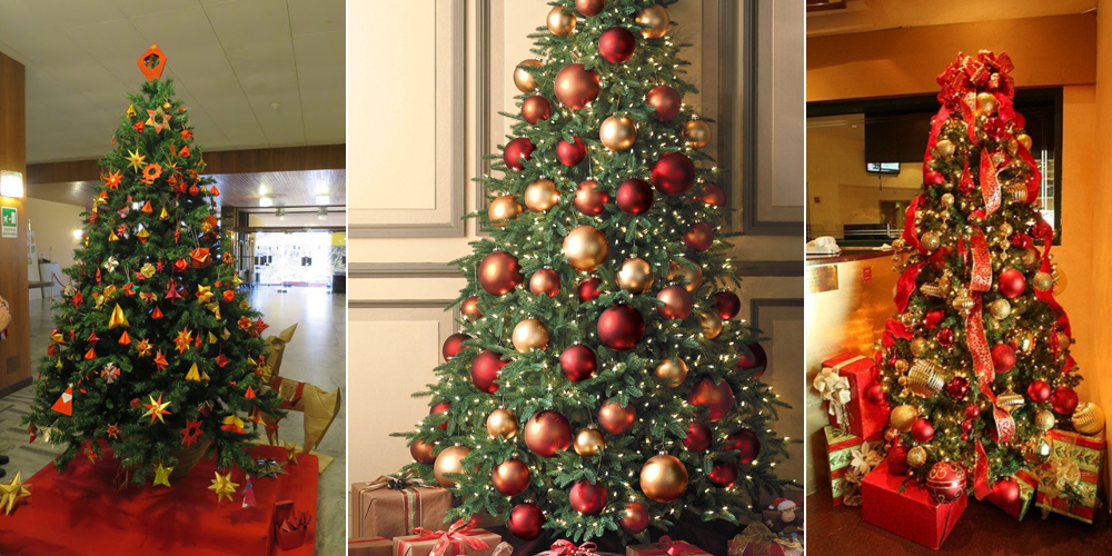 Украшение елки в красно-золотых тонах