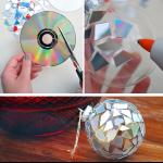 Фото 36: Украшение новогоднего шара из старых дисков