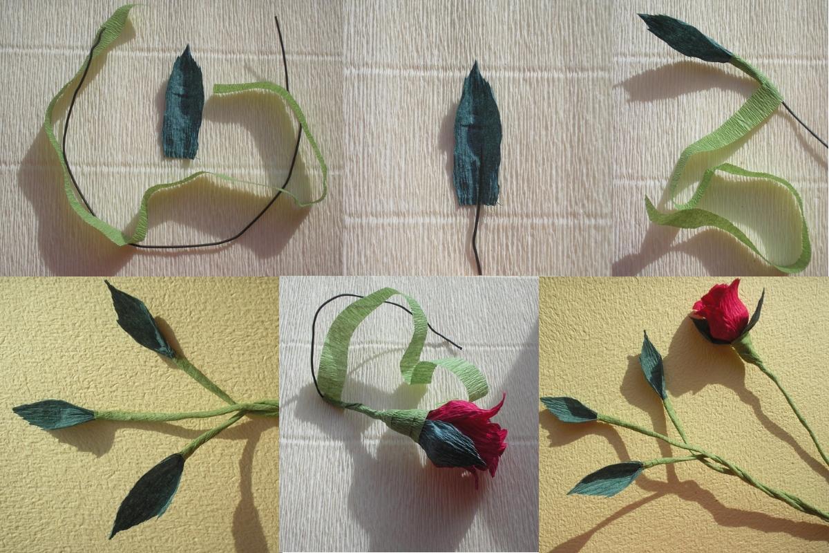 Пошаговое изготовление стебля розы из гофрированной бумаги