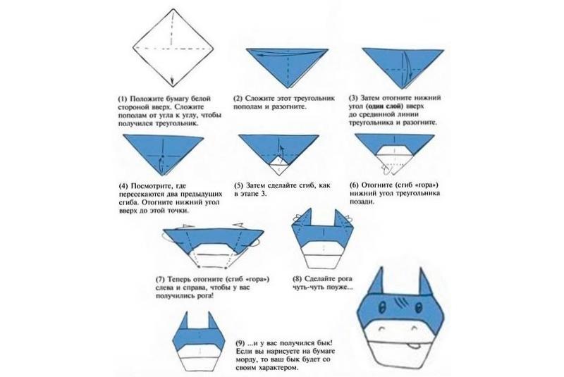 Простой бычок оригами своими руками на Новый Год