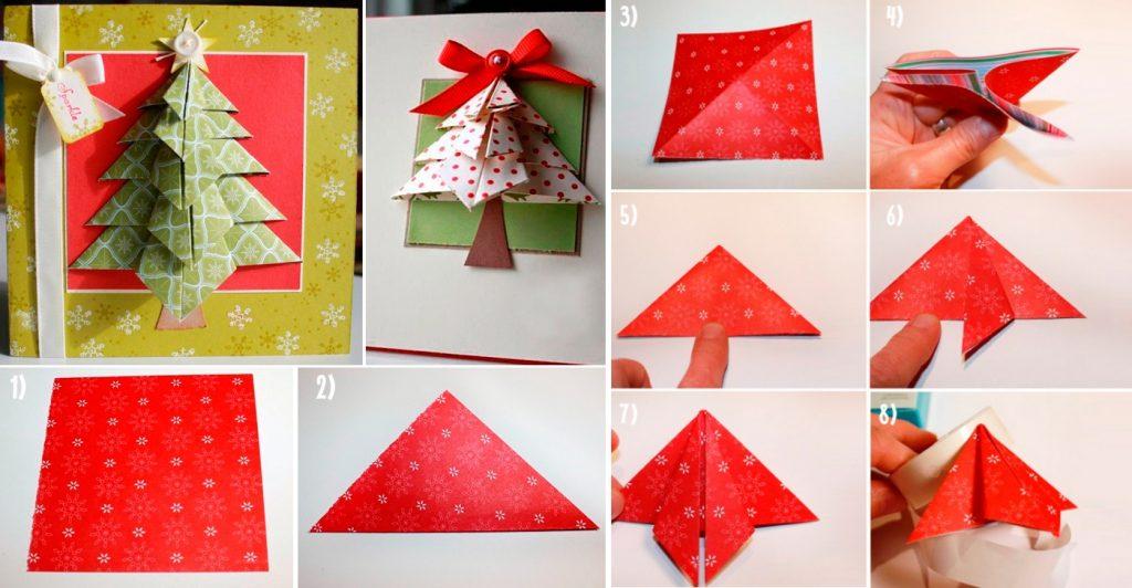 Новогодняя открытка с елочкой оригами