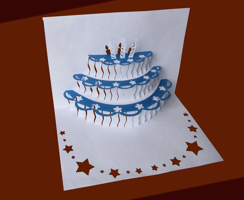 Объемная открытка-торт в технике вытынанки