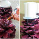 Фото 82: Цветные подсвечники из шишек