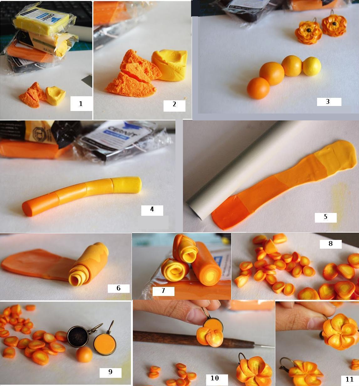 Изготовление цветочков-сережек из пластики