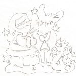 Фото 26: Вытынанка Дед Мороз и олени новогодняя