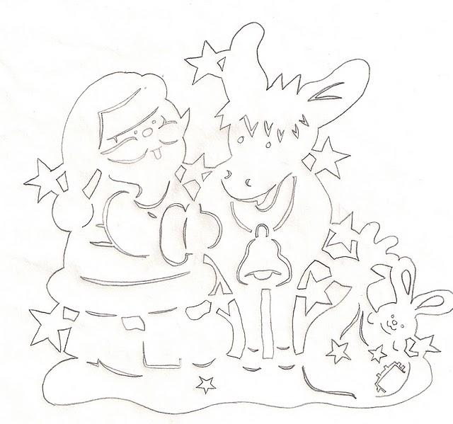 Шаблон Деда Мороза с оленем