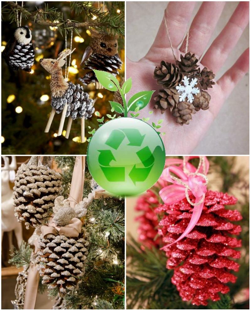 Экологичные новогодние украшения из шишек