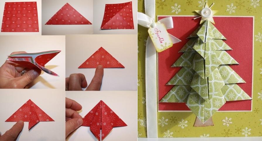 Открытка с елочкой оригами объемная