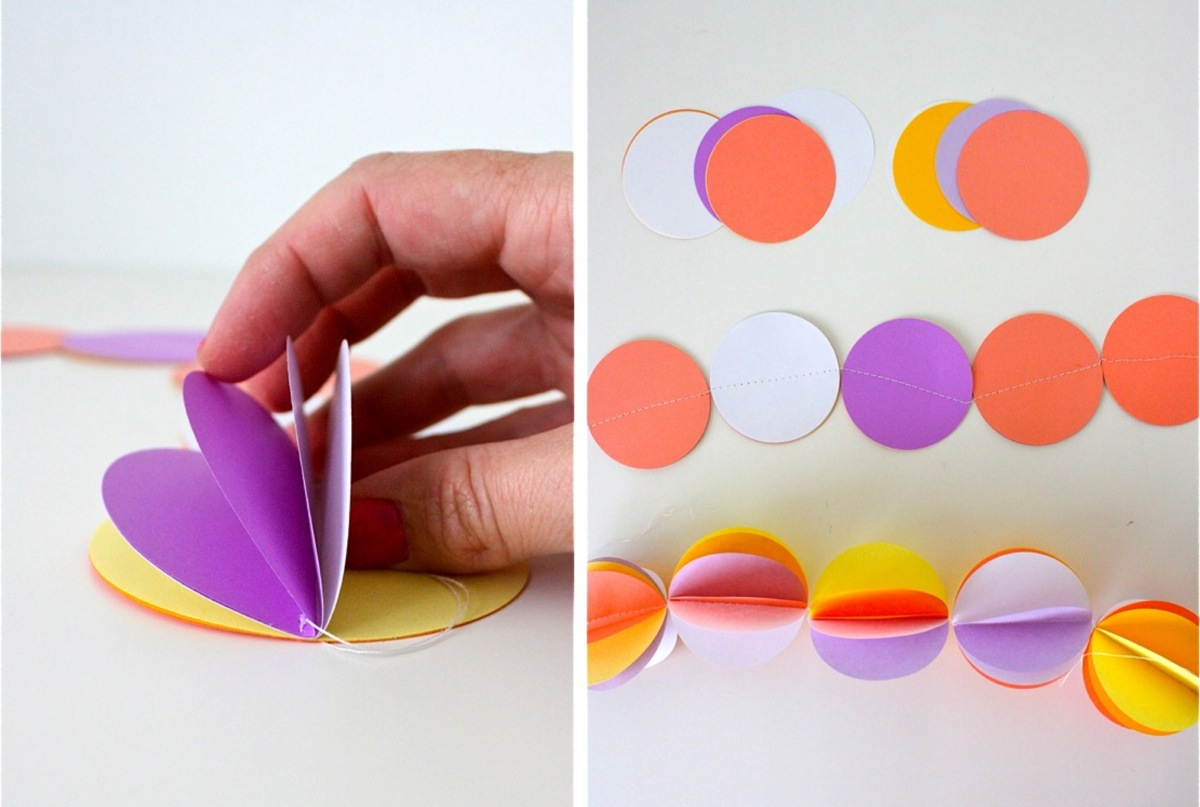 Гирлянда из бумажных кругов своими руками