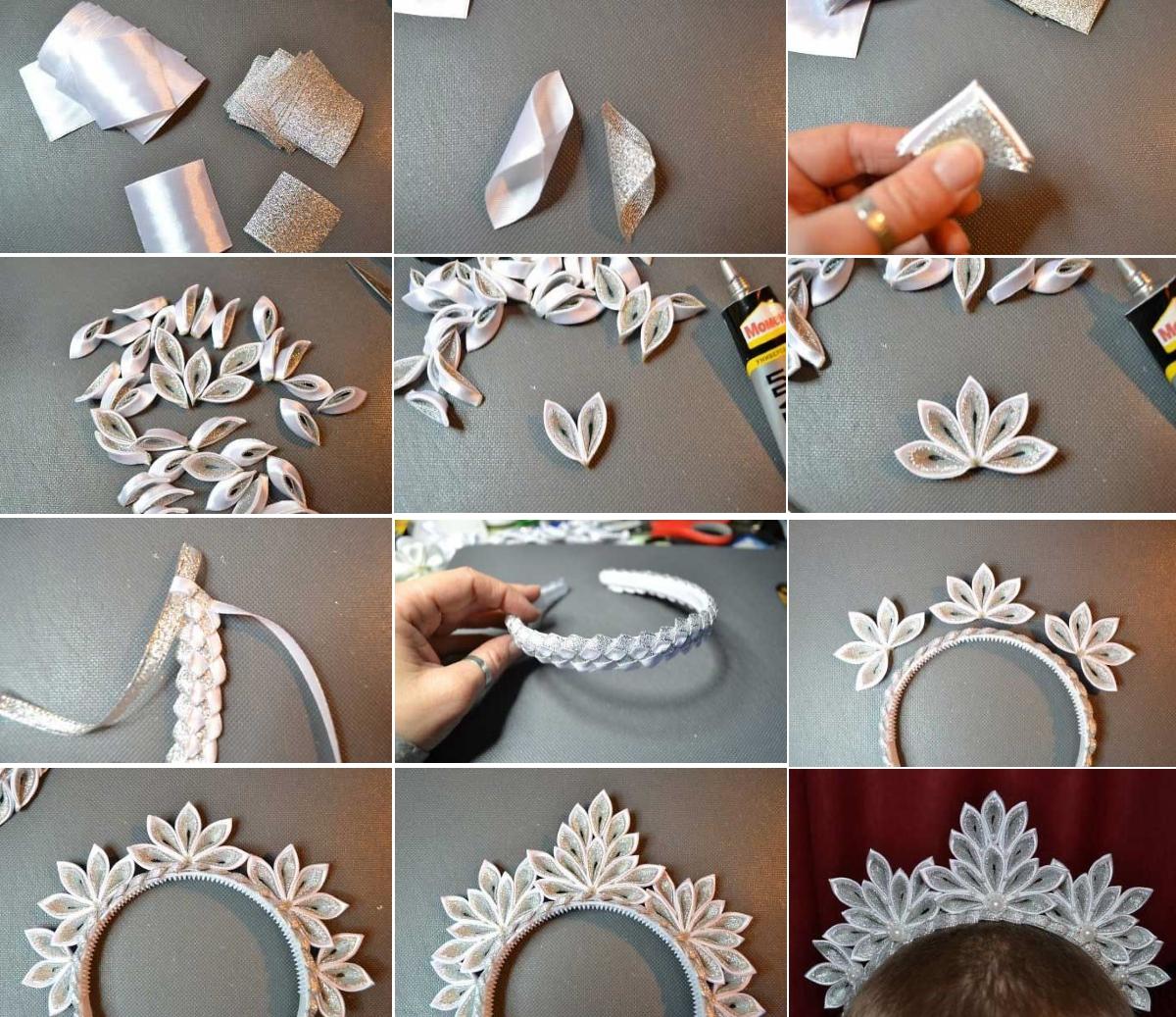 Изготовление короны в технике канзаши на Новый Год