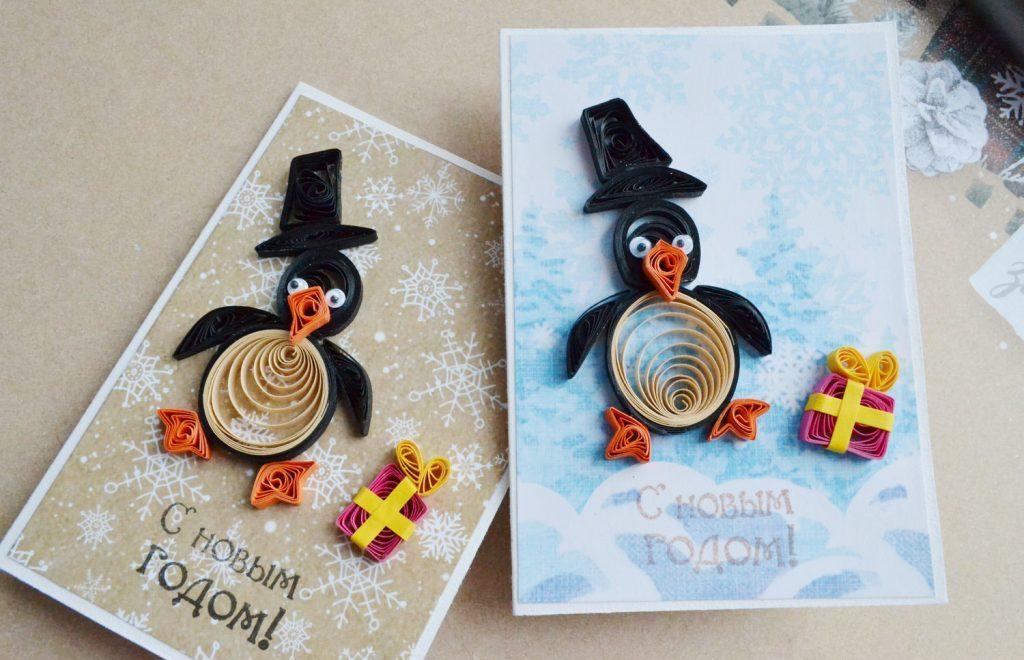 Открытка с пингвинами квиллинг на Новый Год
