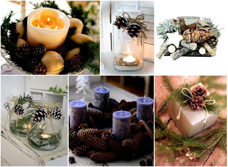 Декор шишками свечей