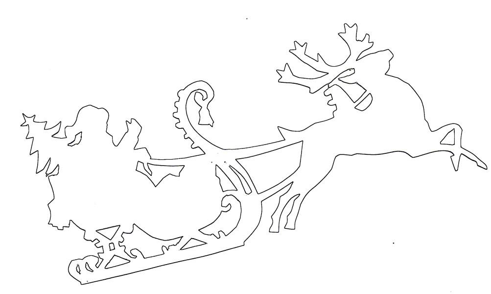 Шаблон Дед Мороз на санках